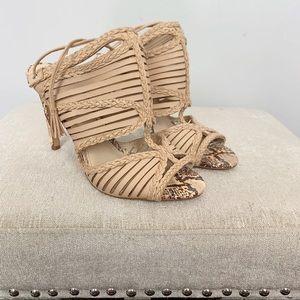 Vince Camuto Leather Snakeskin Sandal Heel 8